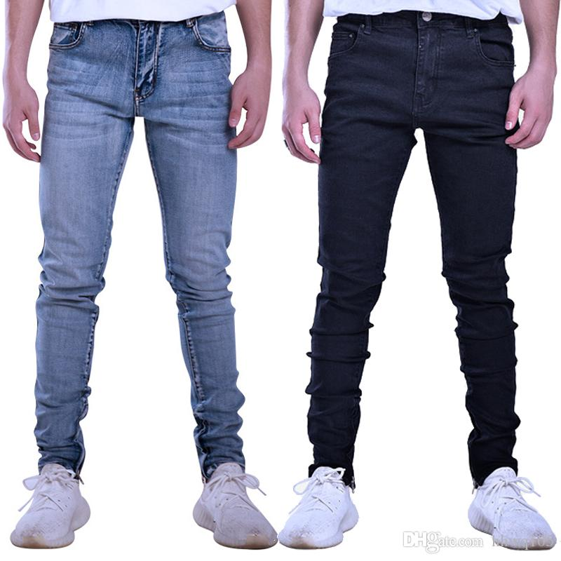 3698a8c47e2 2019 Men S Skinny Fit Stretch Jeans Ankle Zipper Washed Denim Cotton  Tapered Jeans Pants Blue Black High Quality BFSH0802 From Hhwq105