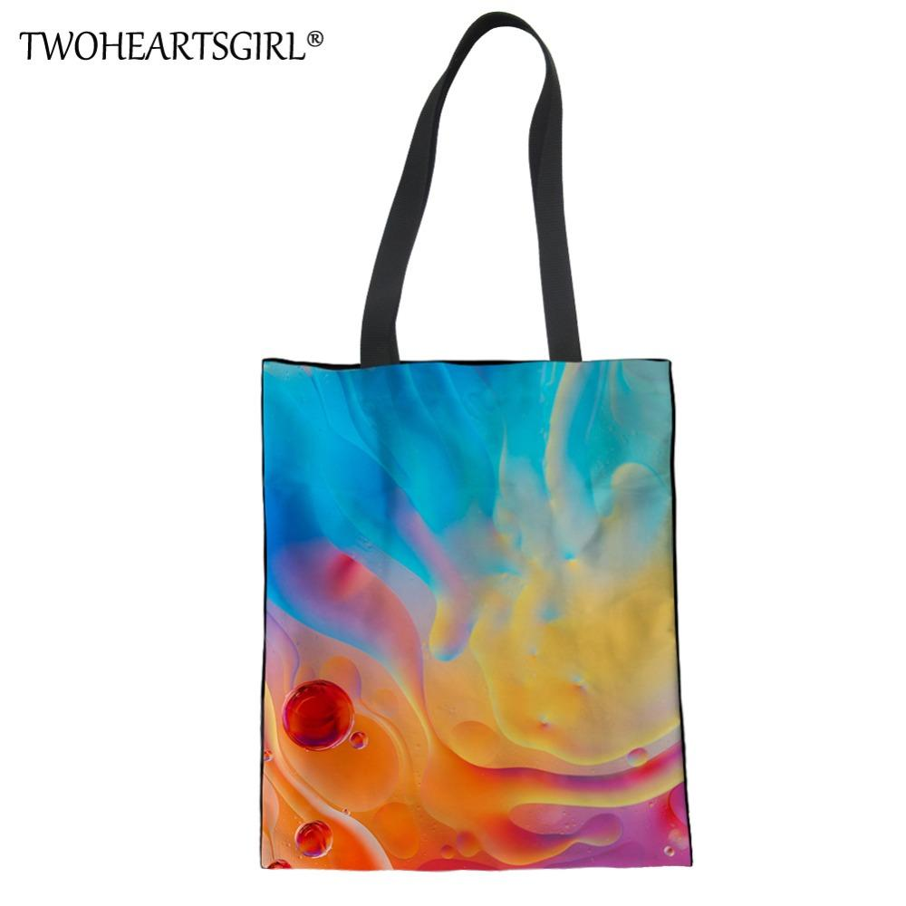 TWOHEARTSGIRL Rainbow Color Women Canvas Handbag Function Shopping Tote Bag  For Lady Storage IPad Water Cup Fashion Book Handbag Cheap Bags Cheap  Designer ... 35b6635f9