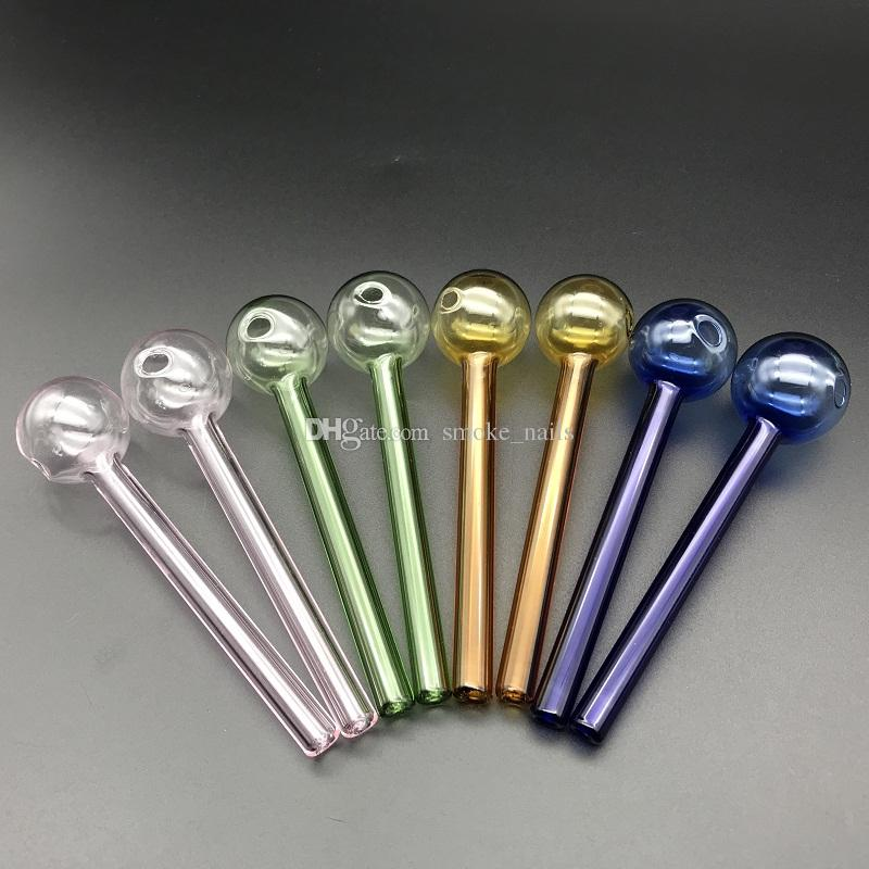 Calidad superior Colorido Gran Pyrex 4''Glass Oil Burner Pipe Color grueso Vidrio dab nail tubos para vidrio agua bong pipe dab plataforma petrolera