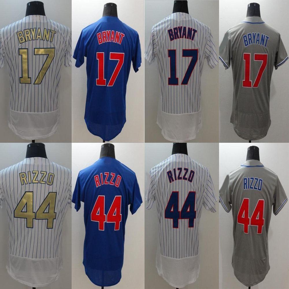 5ffbb441b New Men's Flex Base Jersey #44 Anthony Rizzo #17 White Blue Grey Gold  Embroidery Baseball Flexbase Jerseys Free Drop Shippi