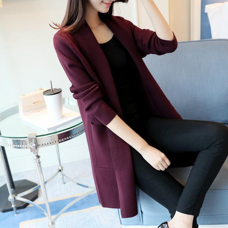 UPPIN Long Sweaters 2018 Women New Autumn All Match Patchwork Full Sleeve  Slim Pocket Knitted Cardigan Sweater Black Pink S 2XL UK 2019 From  Liangcloth 6c2cf220d