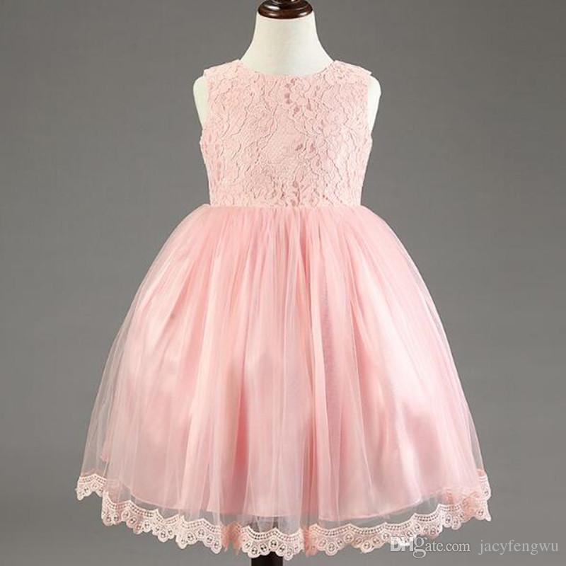 faca42ec44ec 2019 Girls Lace Dresses Children Summer Ball Gown Elegant Baby Princess  Dress Kids Pretty Party Bow Gown Flower Girls Dance 3 8Y LF019 From  Jacyfengwu