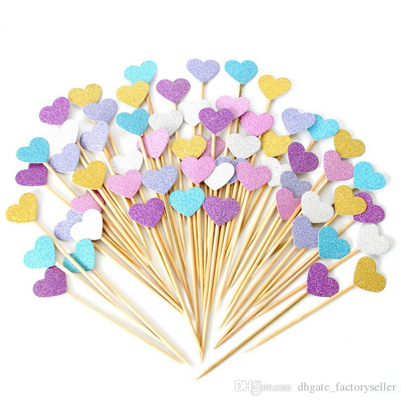 New Arrival Handmade Lovely Heart Cupcake Toppers For Party Supplies Birthday Wedding Decoration LX3342 Things Wall