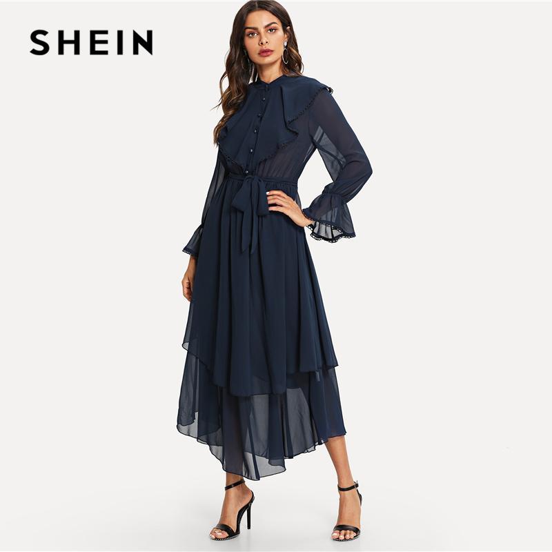 b4dca10fcf 20187 SHEIN Ruffle Detail Crochet Trim Flowy Dress Navy Stand Collar Tiered  Layer Belted Dresses Women Autumn A Line Maxi Dresses UK 2019 From Huang03,  ...