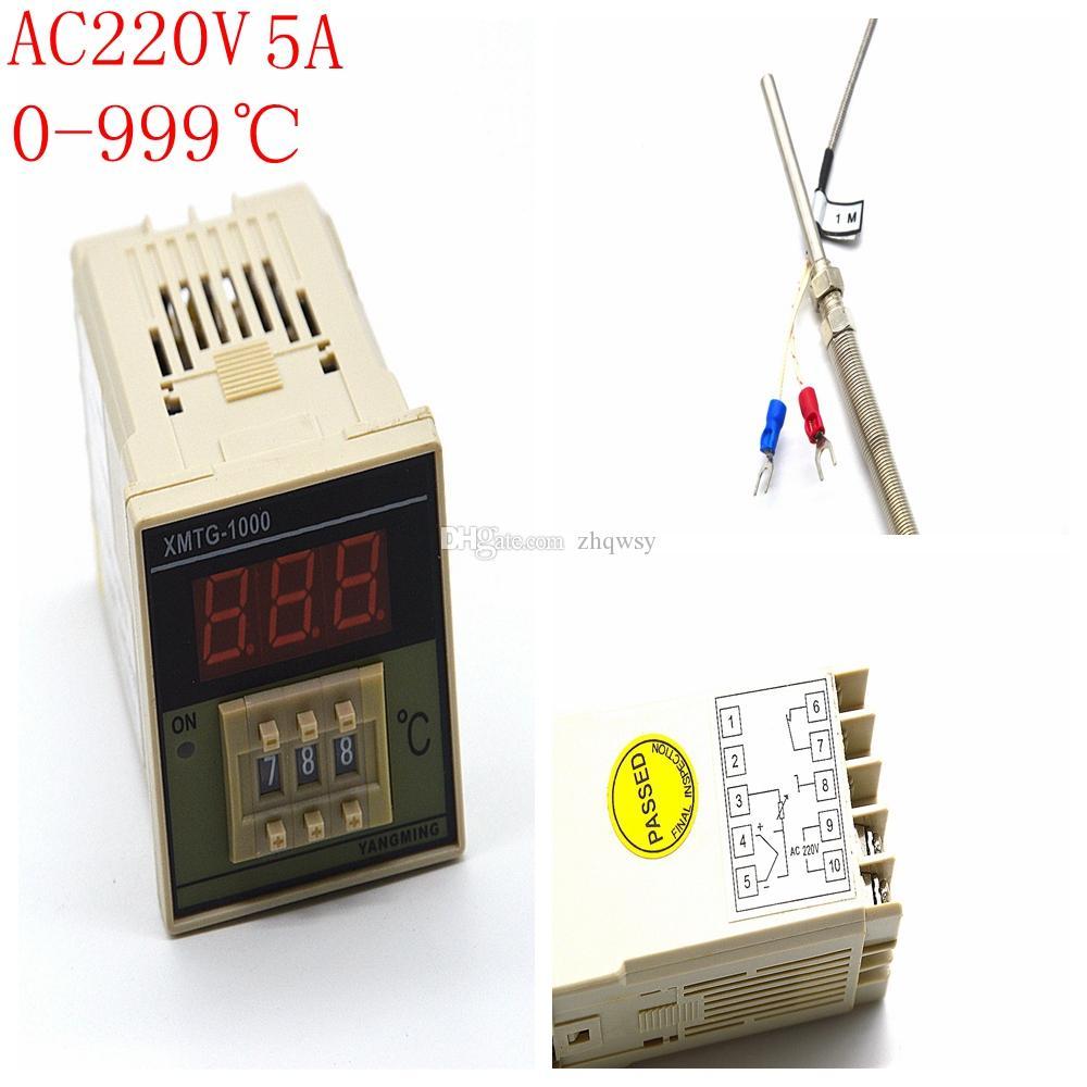 AC 220 V Embutido Controlador de Temperatura Digital Microcomputador Termostato PID Sensor de Temperatura XMTG Display LCD 0-999 Temperatura Controlle