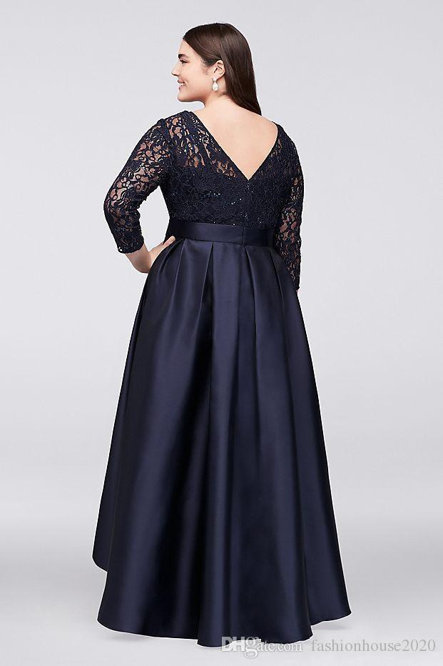 Black Mother Of Bride Dresses Jewel Neck Lace Appliques Sequins Plus Size Long Sleeves V Back High Low Sashes Wedding Guest Gowns Evening