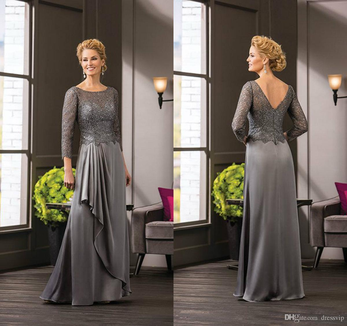 Grey Mother of The Bride Ruffle Lace Chiffon Jewel Neck Long Sleeve Elegant Mother of the Groom Dress Floor Length Wedding Guest Gowns