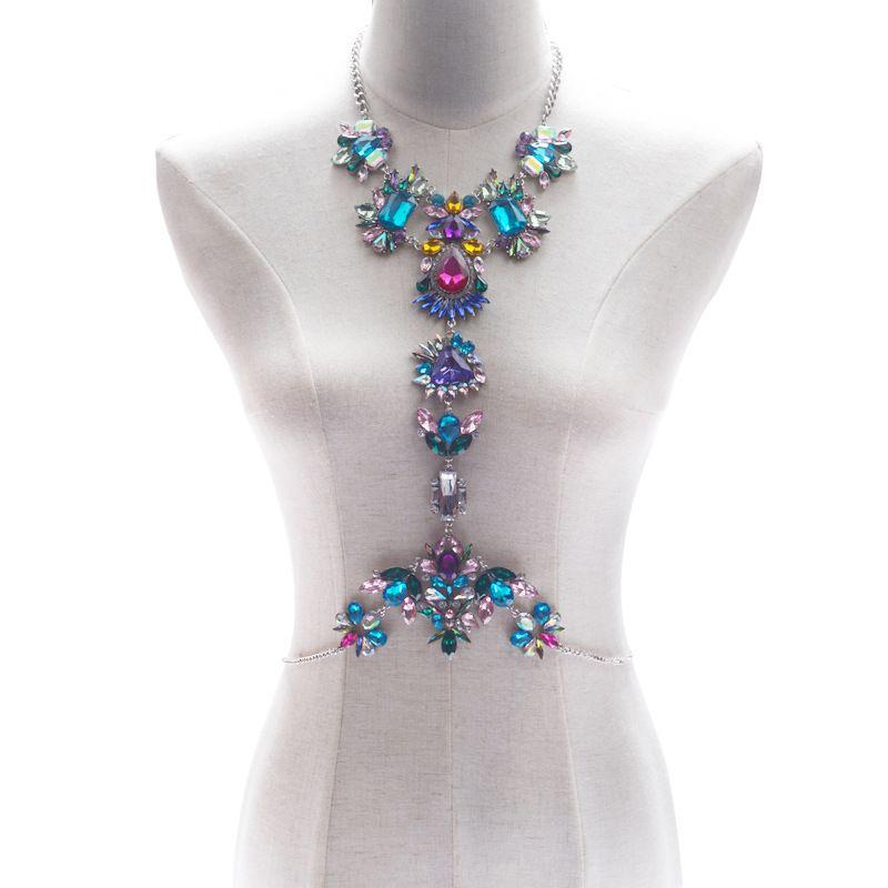 Fashion Body Jewelry Unique Rhinestone Beads Body Chain Summer Bikini Bra Accessories Beach Party Costume Jewelry