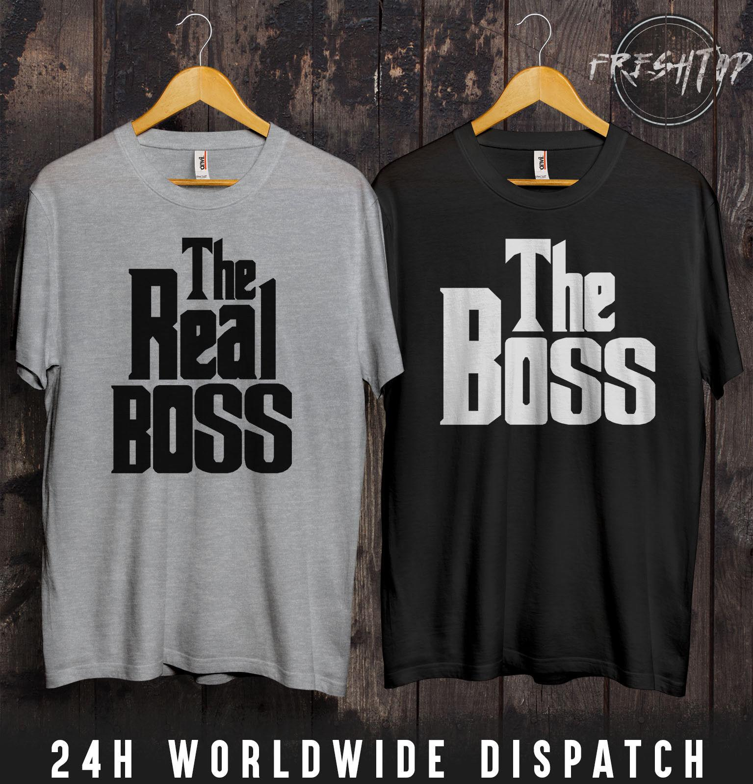 1f4351ebc The Boss Real Boss T Shirt Valentines Day Couple Married Holiday Couple  Matching Funny 100% Cotton T Shirt Awesome Tee Different T Shirts From  Qqq614445917, ...