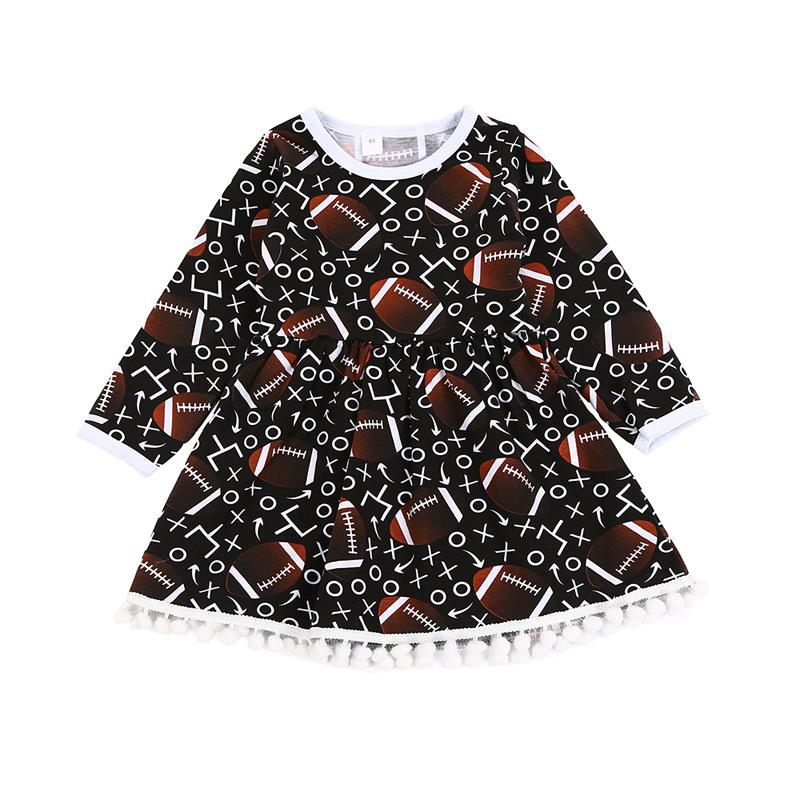 Fruhling Madchen Kleidung Langarm Fussball Muster Sport Madchen Kleid Mode Fussball Saison Madchen Outfit Mit Pom