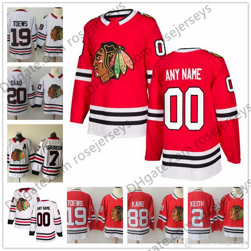 Custom Chicago Blackhawks Hockey Jerseys Stitched Any Number Name ... d2d1cdb94