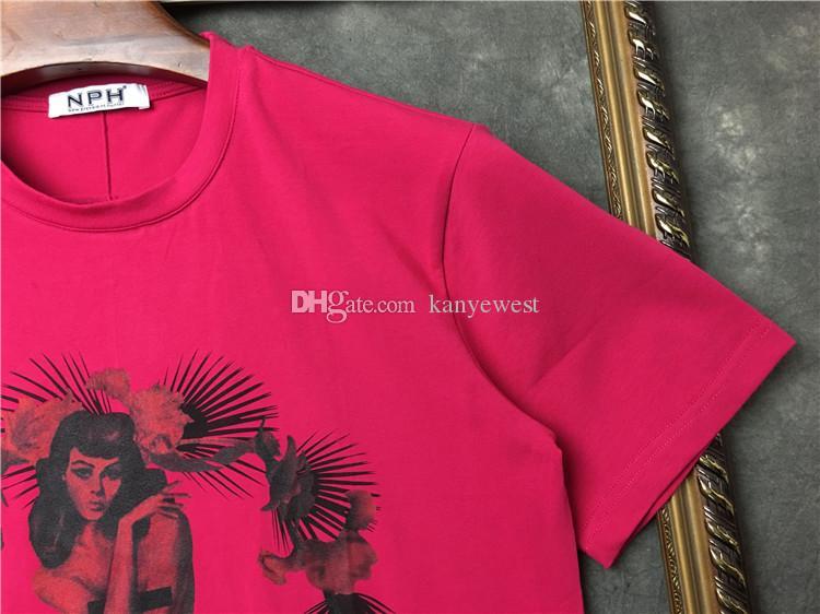 2018 die neuesten Herren Rose rot nackt Blumendruck T-Shirts Top-Qualität Baumwoll-T-Shirt Kurzarm lässig Camiseta Designer t sh