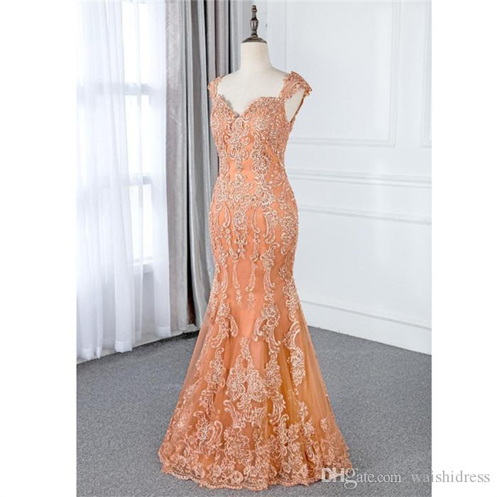 Orange Lace Evening Dress