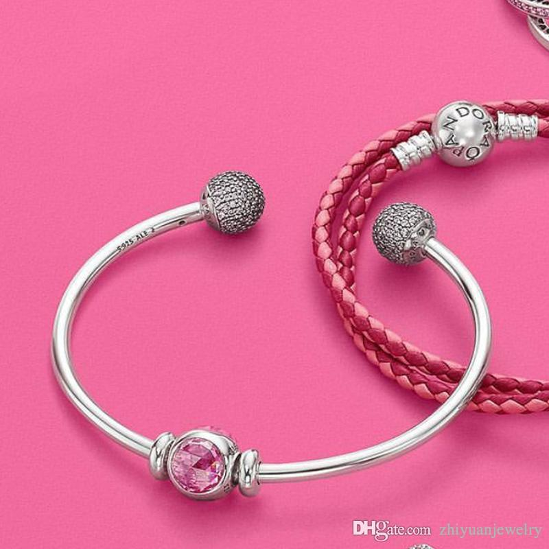 59e7b3a63 ... 2018 Pandora Gifts Think Pink Charm S925 ALE Open Bangle Bracelets  Sterling Silver Jewelry Original Package