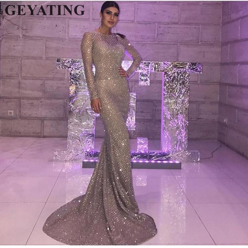 282944eec653 Acquista Abito Da Sera Con Paillettes Glitter Argento Oro Vestito Da Sera  Maniche Lunghe Aderenti Eleganti Abito Da Donna 2018 Arabia Saudita Dubai  Prom ...