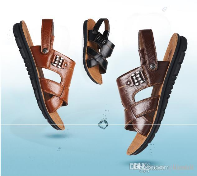 529edc52268e New With Box Summer Beach Shoes Mens Leather Sandals Slippers Leather First  Layer Of Leather Tendon Slip Tide Size Three Styles High Heels Shoes Green  Shoes ...