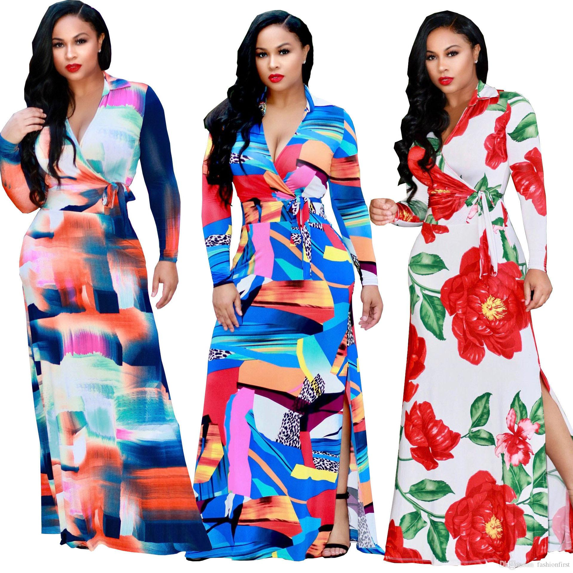 eddbfd314e5 African Clothing Rushed Women Clothing 2018 Fashion V Neck Posed Dress  Irregular Side Slit Beautiful Plus Size Printing Belt Dress Shop Dresses  Discount ...