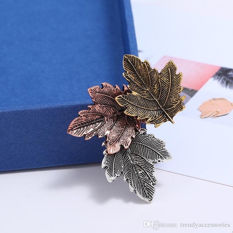Fashion Three Maple Leaf Retro Collar Pin Brooch