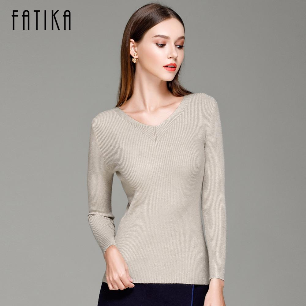 FATIKA Women Cute Elegant V Neck Slim Casual Knit Sweater Pullover Long Sleeve Spring Bodycon Sweater Tops sueter mujer