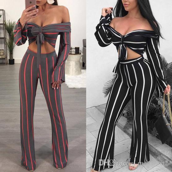 2018 Seksi Uzun Kollu Kapalı Omuz Mahsul En Çizgili Ince Pantolon parti Iki Parçalı Set Kadın İlkbahar yaz Sonbahar Straplez Backless suits