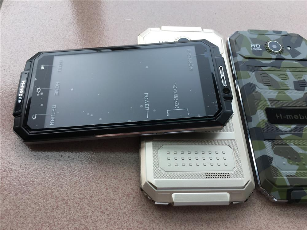 Ursprüngliches H-Mobile V6 + Handy 5 Zoll MTK6580 Viererkabel-Kern Android 5.1 OS 512MB RAM 8GB ROM wasserdichtes IP65 Wifi GPS 3G WCDMA Smartphone