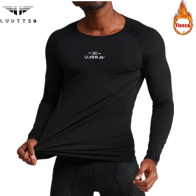 633557ae154ff Compre Térmica De Inverno Correndo T Shirt Dos Homens Engrossar Velo Manter  Aquecido Camisa De Esportes Homem De Manga Longa Ginásio De Fitness  Apertado Top ...
