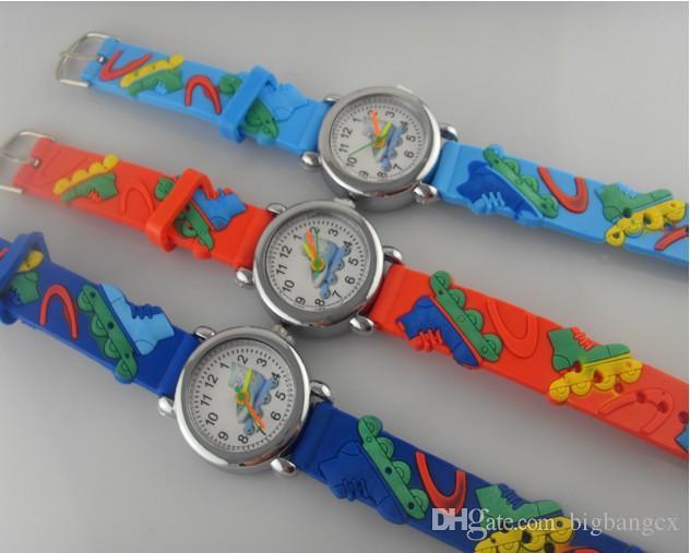 Moda 3D de dibujos animados niños estudiantes reloj de silicona Spiderman Princesa reloj de cuarzo Cartoon Car Butterfly dolphin Kid relojes regalo de navidad