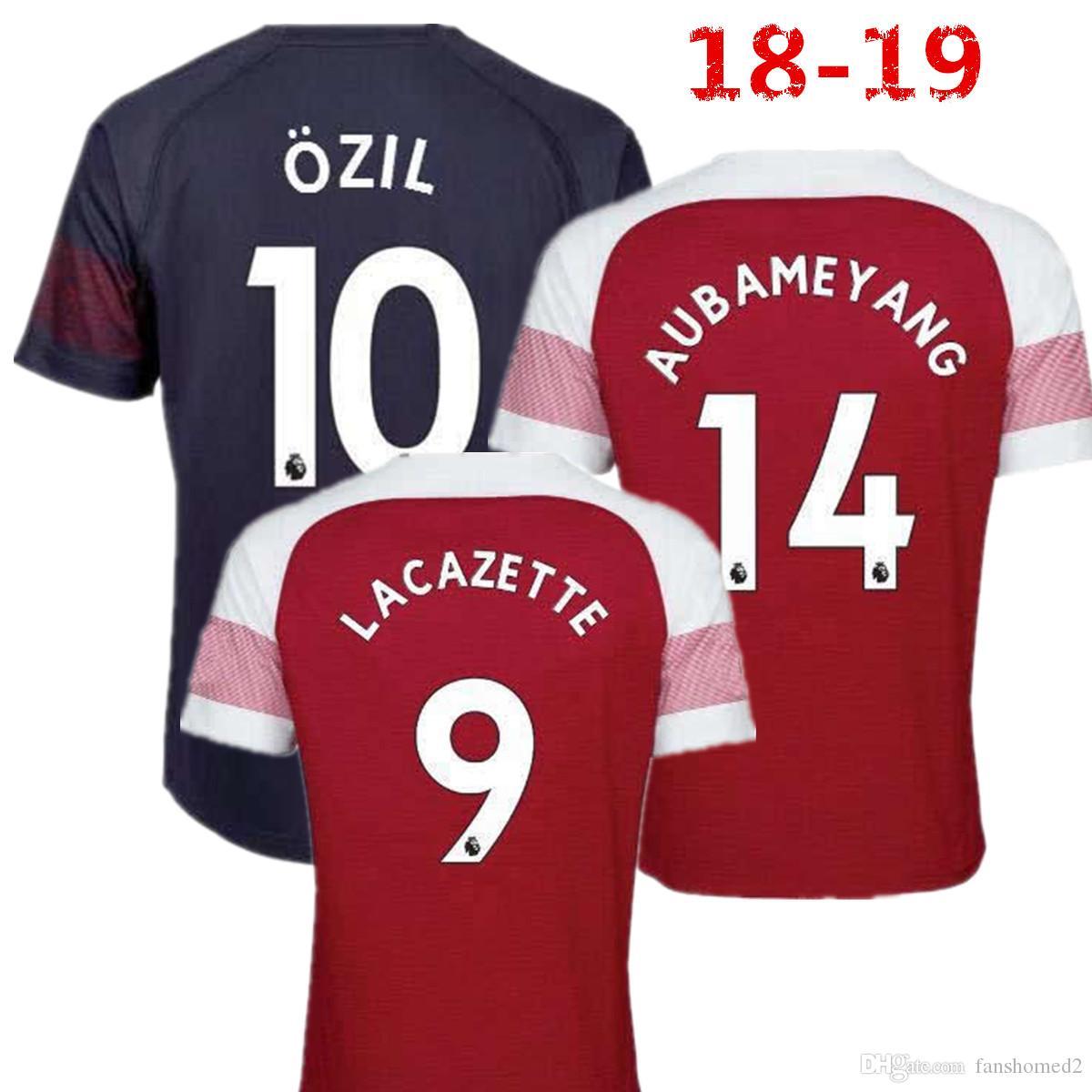 a2b07dae048 2018 Arsenal Gunners Away  10 OZIL AUBAMEYANG Soccer Jersey 18 19 ...