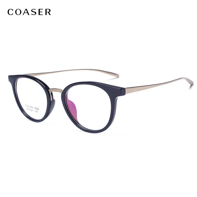00ebeded7e 2019 COASER Vintage Cat Eye Eyewear Metal TR90 Men Women Optical  Prescription Eyeglasses Frame Suit Myopia Female Retro Spectacles From  Shuidianba