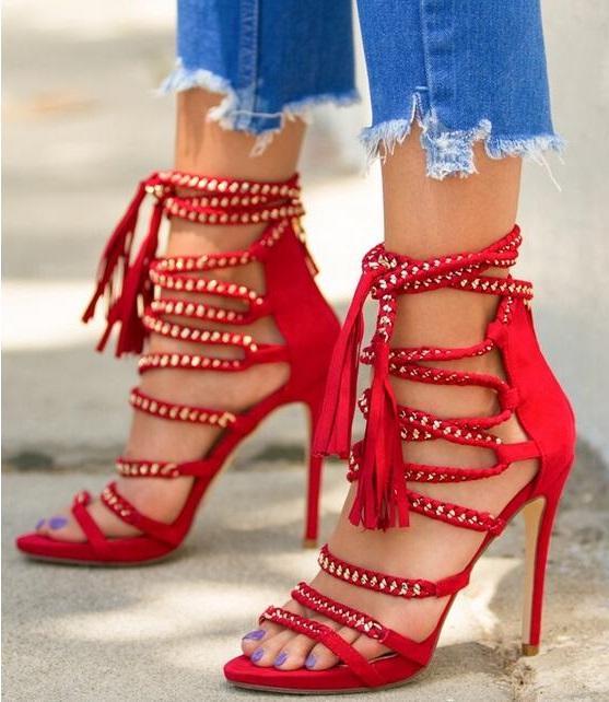 a2d1f142cf ... Vestido Sandálias Tassel Aberto Do Dedo Do Pé Gladiador Sandálias  Sapatos Vermelhos Franja Preto Com Tiras Sandálias De Salto Alto De  Hongxuanstore004