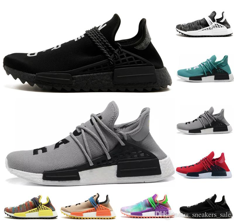 buy popular c3bc9 c8bf3 2019 Human Race Pharrell Williams Hu Trail NERD Men Womens Running Shoes  White Noble Ink Core Black Red Sports Mens Designer Sneaker Eur 36 45 From  ...