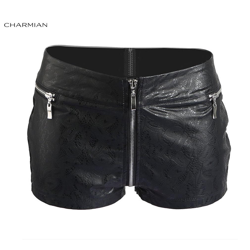 GüNstiger Verkauf Schwarz Falsch Leder Hotpants Hauteng Kleidung 6 8 10 12 14 16 18 Damenmode