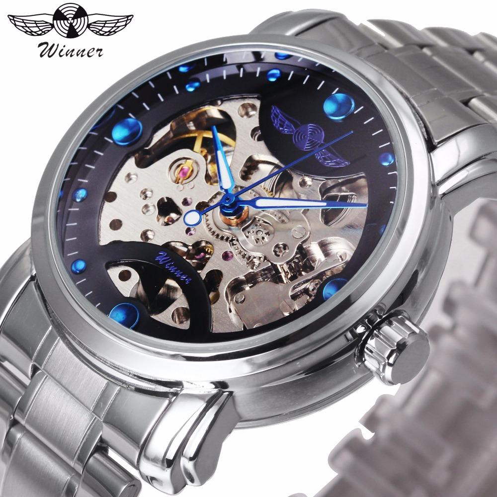 WINNER Classic Auto Mechanical Watch Men Stainless Steel Strap Skeleton  Dial Marine Index Mens Watches Top Brand Luxury relogio