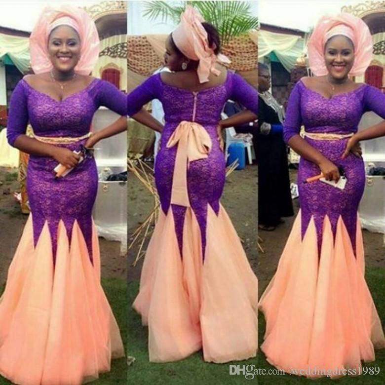 78c75129c9c8b Elegant Nigerian Plus Size Lace Mermaid Evening Dresses Half Sleeve Dubai  Vestidos De Festa Party Dress Prom Formal Pageant Celebrity Gowns