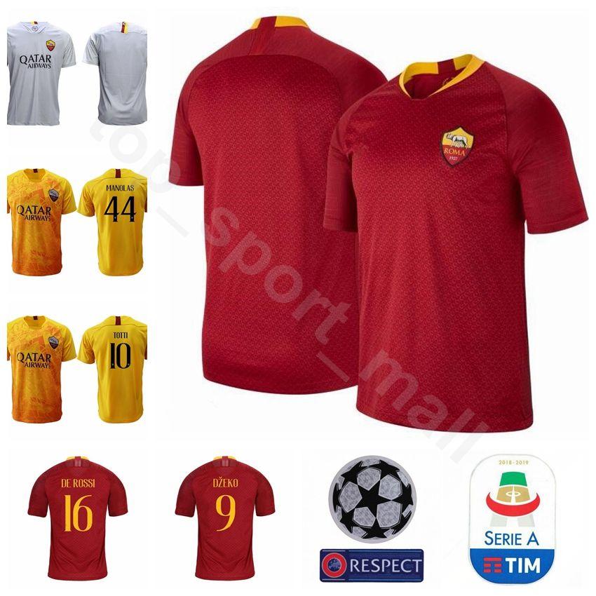 Compre 18 19 FC AS Roma 9 DZEKO Jersey Homens De Futebol 10 TOTTI 16 DE  ROSSI 44 MANOLAS 92 EL SHAARAWY Kits De Camisa De Futebol De  Top sport mall e647dae8459fa