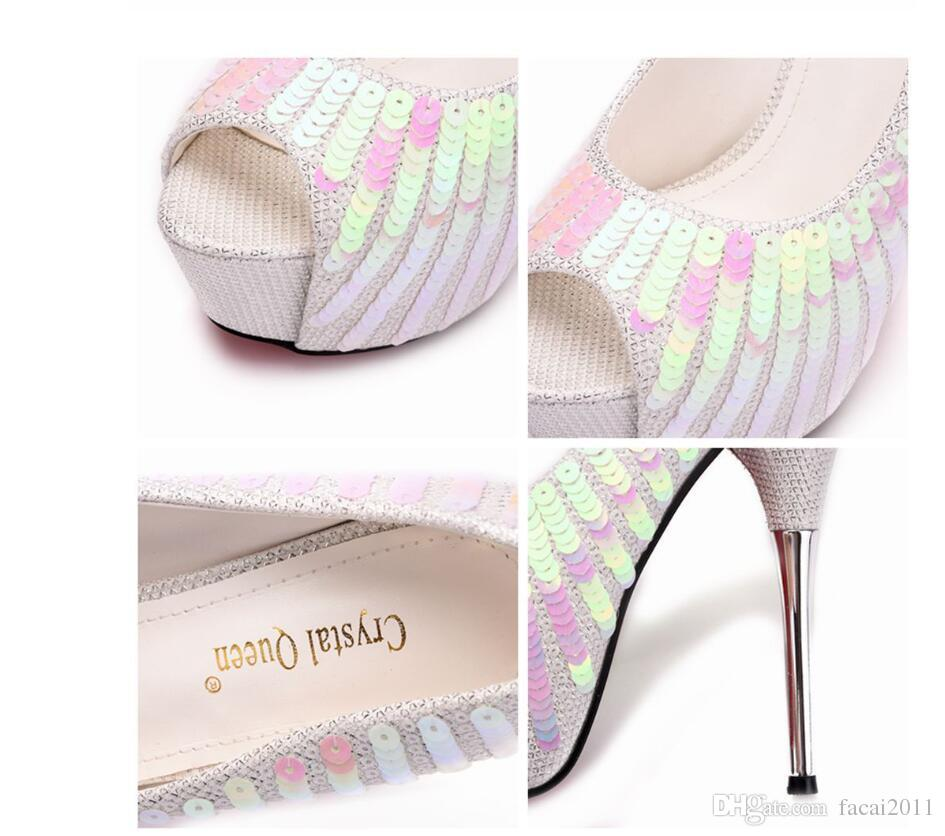 Women Pumps Extrem Sexy High Heels Women Thin Heels Female Shoes Wedding Shoes Sliver White Ladies Shoes