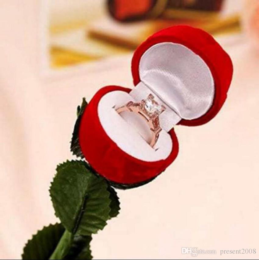 omantic Red Rose Flower Velvet Wedding Ring holder Earrings Storage Display Case Pendants Jewelry Gift Box Valentines Day birthday gifts