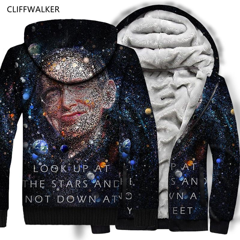 477cb5d004 2019 Dropshipping Stephen William Hawking Galaxy 3d Print Thick Sweatshirts  For Men Zipper Hoodies With Hat Loose Thin Hooded Coat From Sunflowery