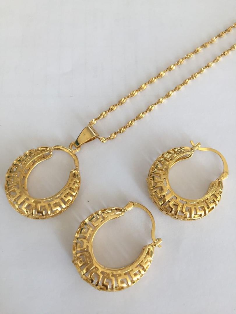 Dubai India Gold Greek Key Wedding Necklace Earrings Pendant Jewelry
