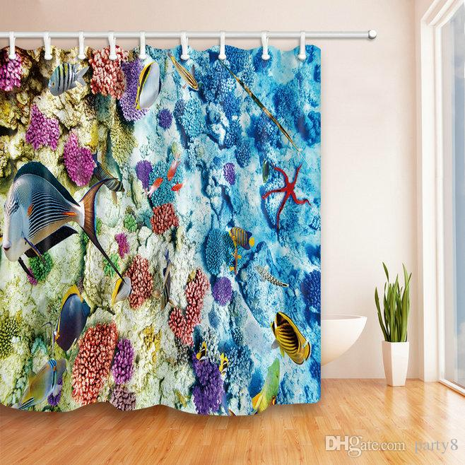2019 Underwater World Coral Fish Shower Curtains 69 X 70 Inch Polyester Fabric Waterproof Mildew Perfect Home Bathroom Supplies Hanging Curtain From Party8