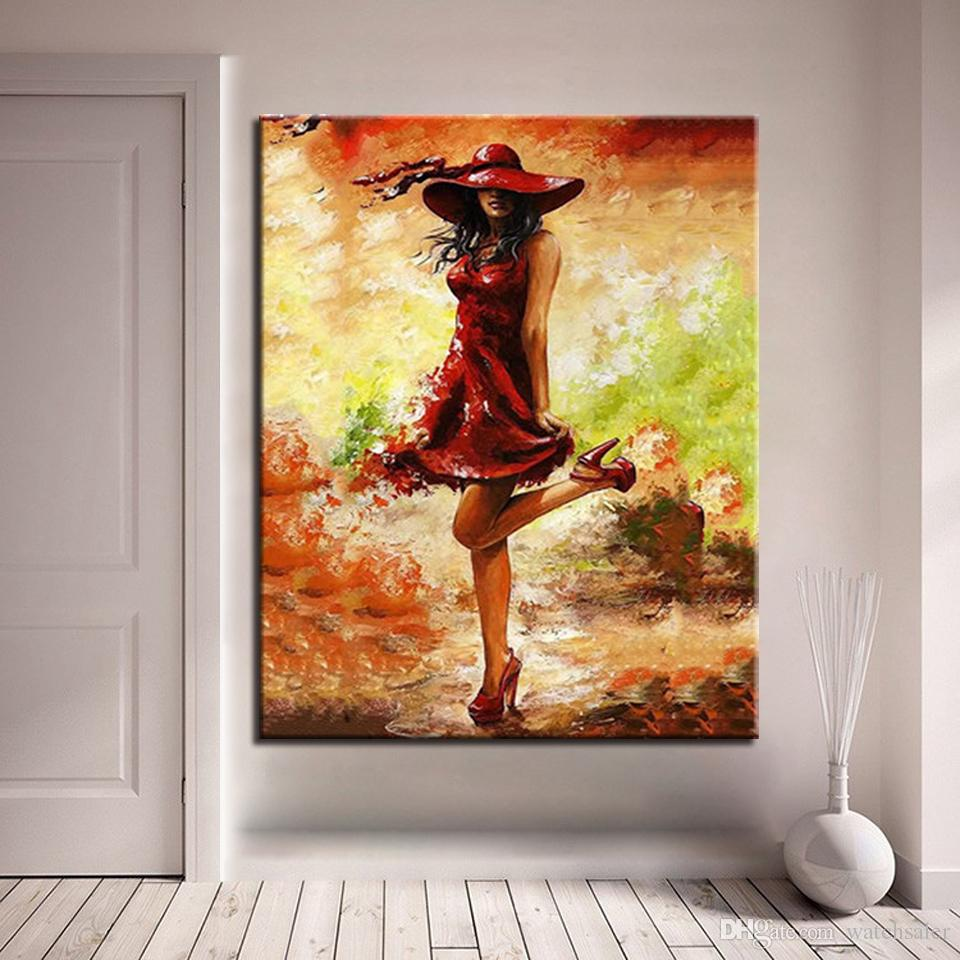 Oil Pictures Painting By Numbers DIY Kits Drawing Sexy Beautiful Red Clothes Women On Canvas HandPainted Coloring Wall Art Decor