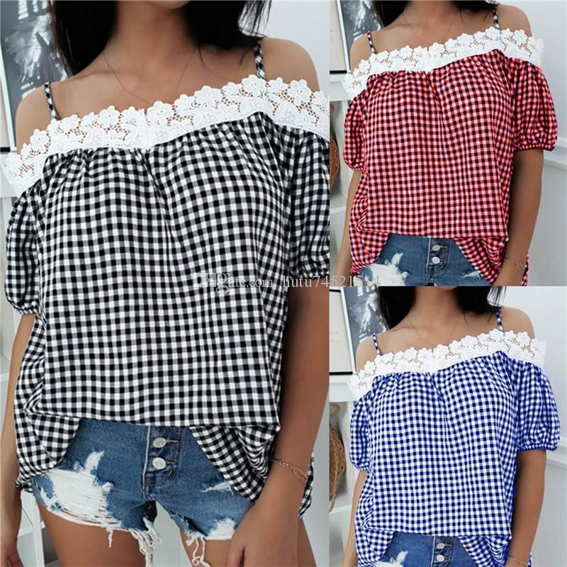 4fe07deca7779 New Arrival Womens Ladies Summer Cold Shoulder Plaid T Shirt Casual Tops  Blouse Plus Size 6 18 Cool T Shirt Sites White Designer T Shirts From  Hutu74521514