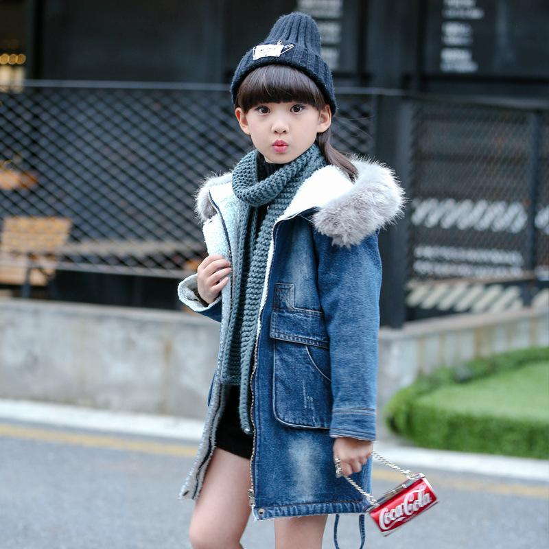 2f57fd91bb64 New Girls Denim Trench Coat Coat Large Children in Winter Plus ...