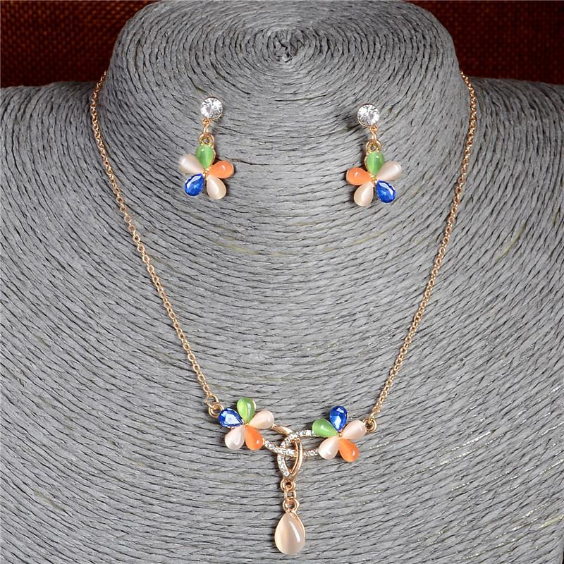 Atreus Jewelry Set 1Set Opal Cat Eyes Colorful flower Shape Design Good-looking Hot Jewelry Gift Nice Pendant Necklace Earrings