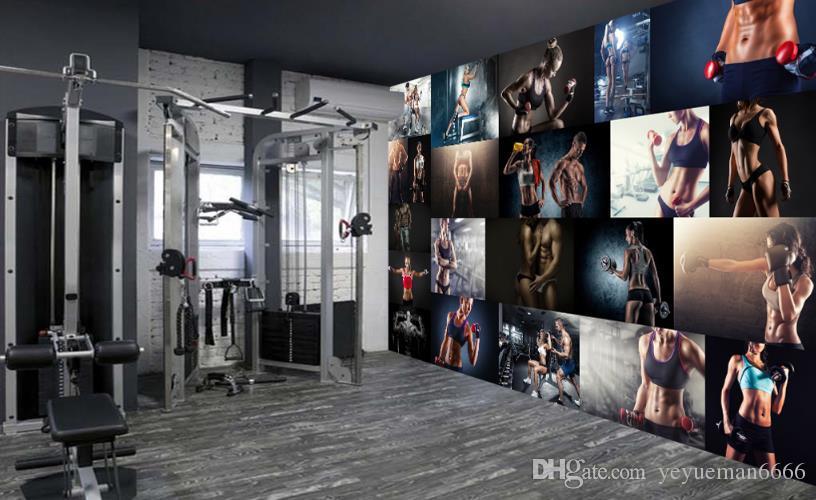Retro Kühlschrank Yoga : Großhandel kreative persönlichkeit 3d wallpaper gym yoga café