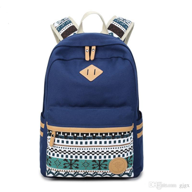 fb053185e500 2018 New Backpack Female Korean Canvas Printing Fashion Sweet Lady College  Wind Student Bag Computer bag