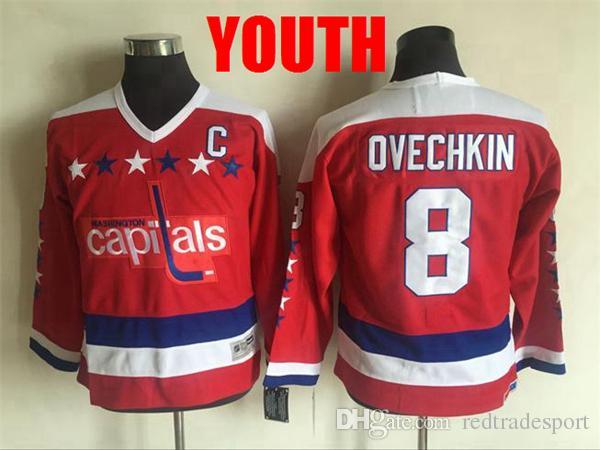 online retailer f7933 9631b 2018 Youth Washington Capitals 8 Alex Ovechkin Hockey Jerseys Kids Boys  Stitched Alex Ovechkin Jersey Shirts