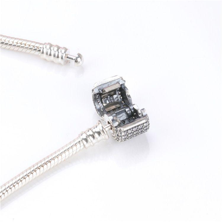 wholesale Sterling Silver Women's Bracelets White Micro Paved CZ Diamond Bracelet Logo Stamped for Pandora European Charms Bead