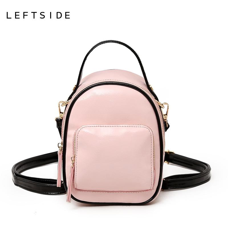 e16800c466 LEFTSIDE 2018 Candy Color Women Small Backpack High Quality Patent Leather  Mini BackpacCute Shoulder School Bags For Teenage Black Leather Backpack ...