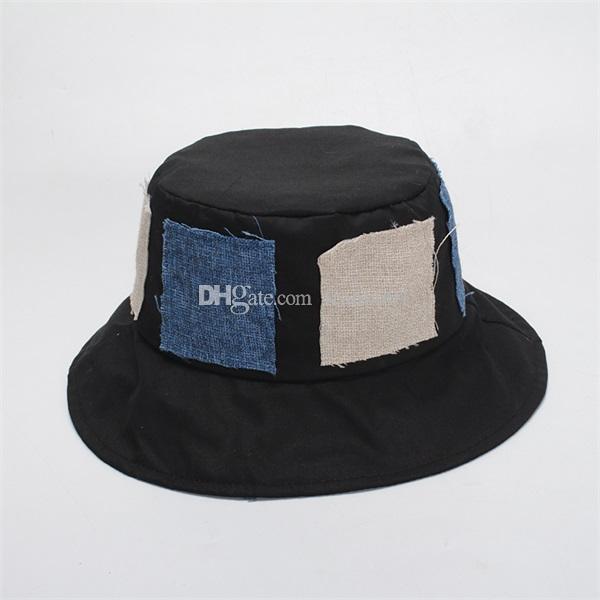 Hip Hop Bucket Hats Fashion Patchwork Bucket Hat For Women Men s ... d3c2a9dec77